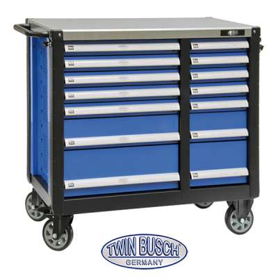 Filled tool trolley with 14 drawers - TW014G