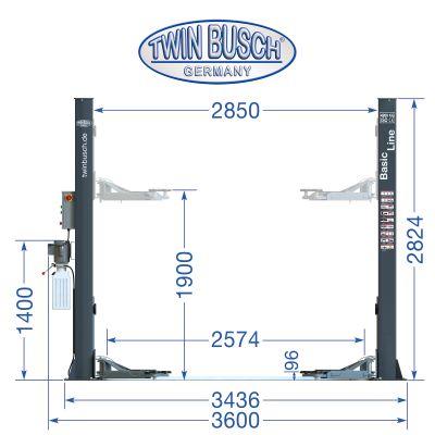 2 Säulen Hebebühne 4.2 t - BASIC LINE - GREY-Line - NEU: Auch in Anthrazit