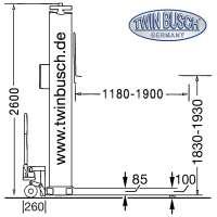 1 Säulen Hebebühne 2.5 t Ultraflach - Mobil - Portabel