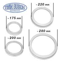 A set of 4 different protective rings for truck tyre changers