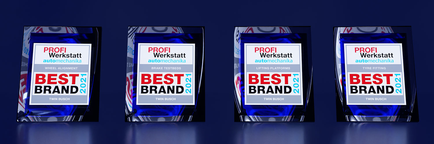 Best Brand 2021 Awards for Twin Busch in the categories lifting platforms, tyre fitting, wheel alignment and brake testbeds