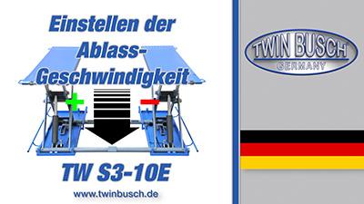 Ablassgeschwindigkeit einer Reifenservice-Hebebühne TW S3-10E